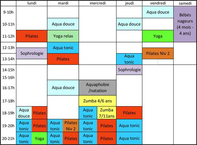 activités caluire planning